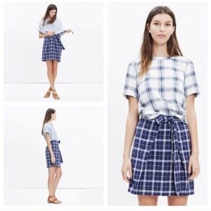 [Madewell] NWT Plaid Tie front skirt